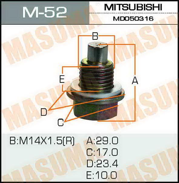 Болт маслосливной С МАГНИТОМ  Masuma  Mitsubishi 14x 1,5 mm. (M-52)