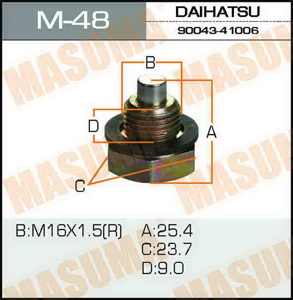 Болт маслосливной С МАГНИТОМ  Masuma  16х1.5mmToyota CAMI, RUSH. (M-48)