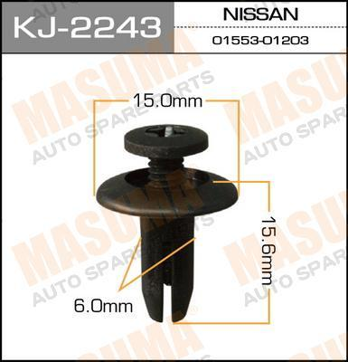Клипса крепежная  Masuma  2243-KJ (уп.50шт) салонная черная. (KJ-2243)