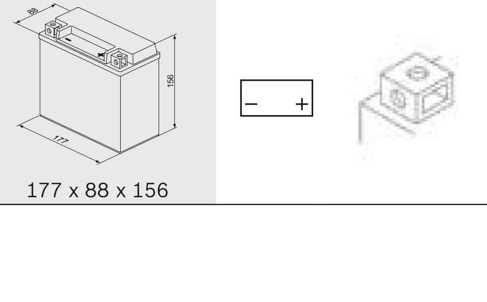 Аккумулятор BOSCH M 6 AGM technology - 12 volt (M6 023), 18 Ач Y4 177x88x156. (0092M60230)