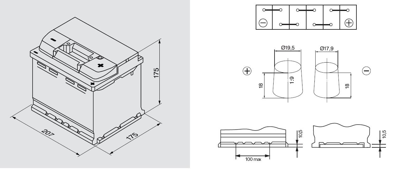 Аккумулятор BOSCH Silver S5 (S5 001), 52 Ач, 520 А, 207х175х175 мм.. (0092S50010)