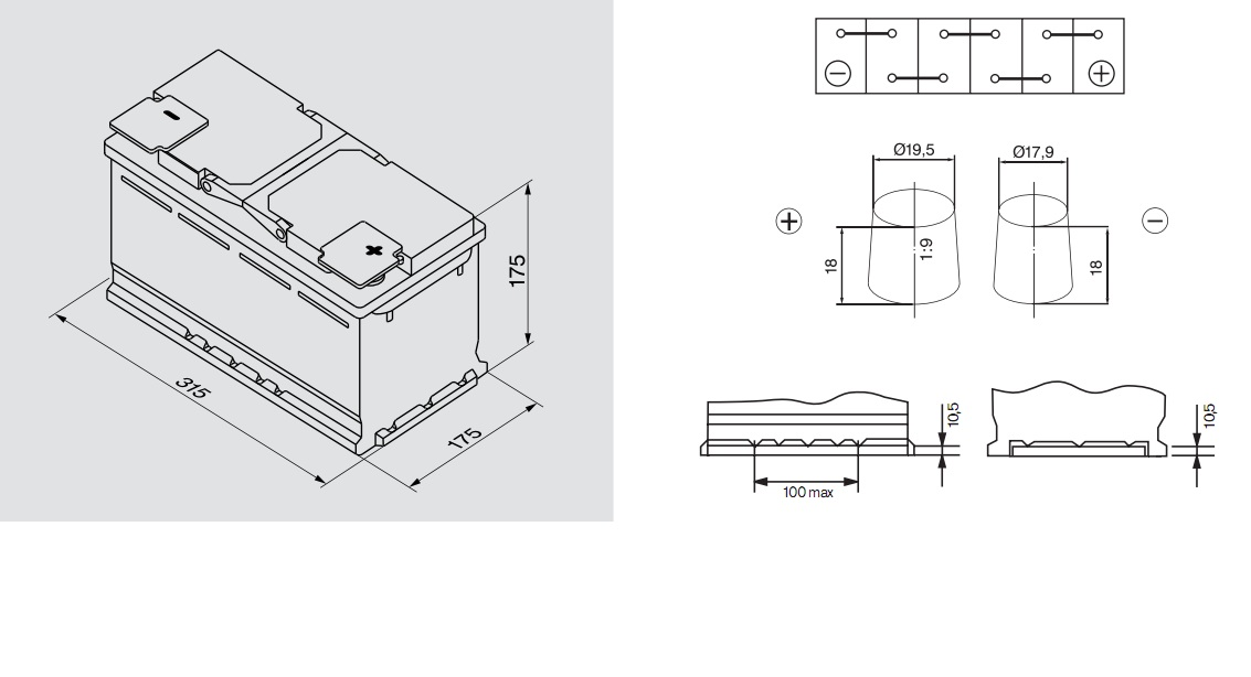 Аккумулятор BOSCH Silver S4 (S4 010), 80 Ач, 740 А, 315x175x175 мм. обр. (0092S40100)