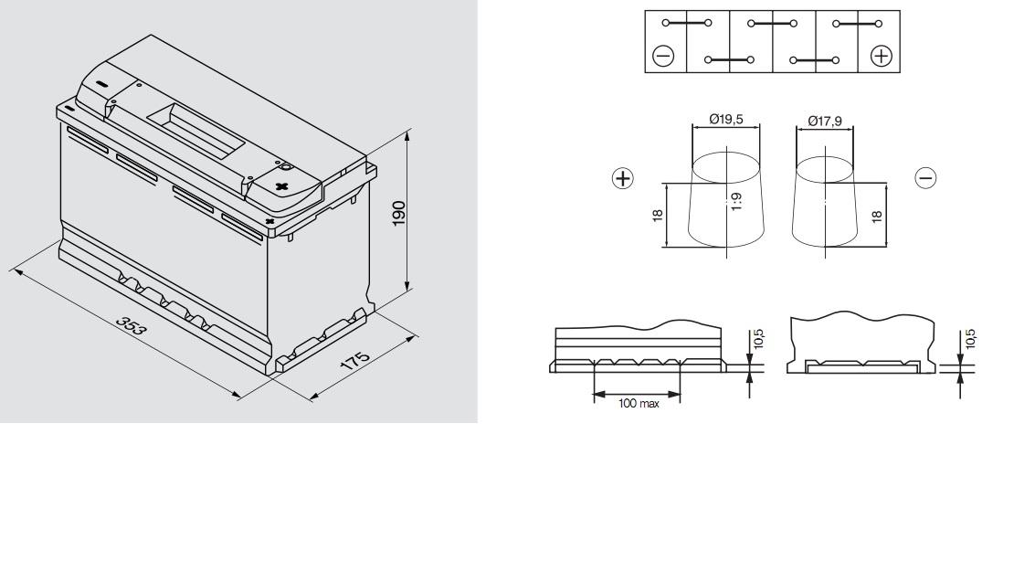 Аккумулятор BOSCH Silver S4 (S4 013), 95 Ач, 800 А, 353x175x190 мм. обр. (0092S40130)