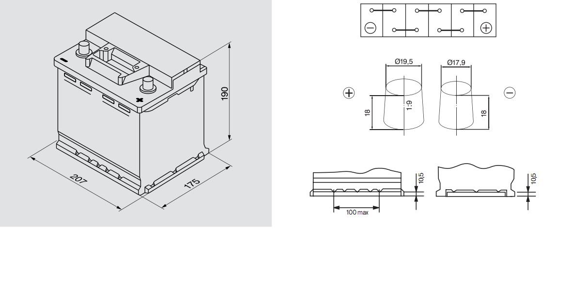 Аккумулятор BOSCH Silver S3 (S3 002), 45 Ач, 400 А, 207x175x190 мм. обр. (0092S30020)