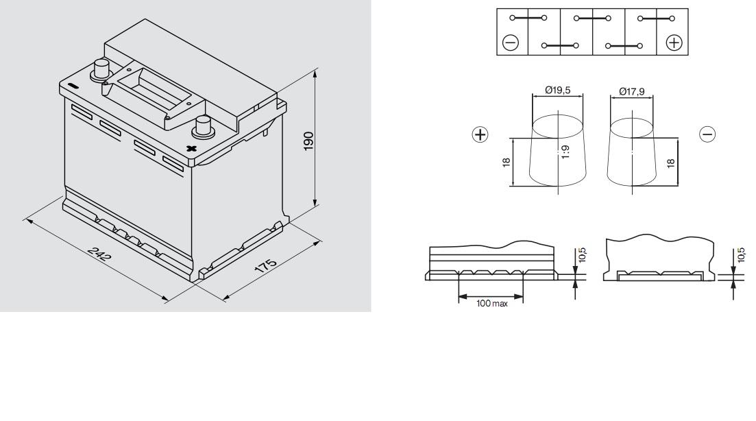Аккумулятор BOSCH Silver S3 (S3 005), 56 Ач, 480 А, 242x175x190 мм. обр. (0092S30050)