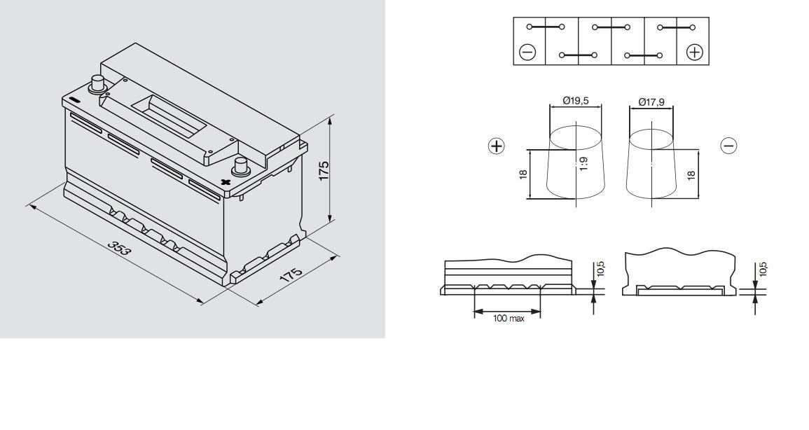 Аккумулятор BOSCH Silver S3 (S3 012), 88 Ач, 740 А, 353x175x175 мм. обр. (0092S30120)