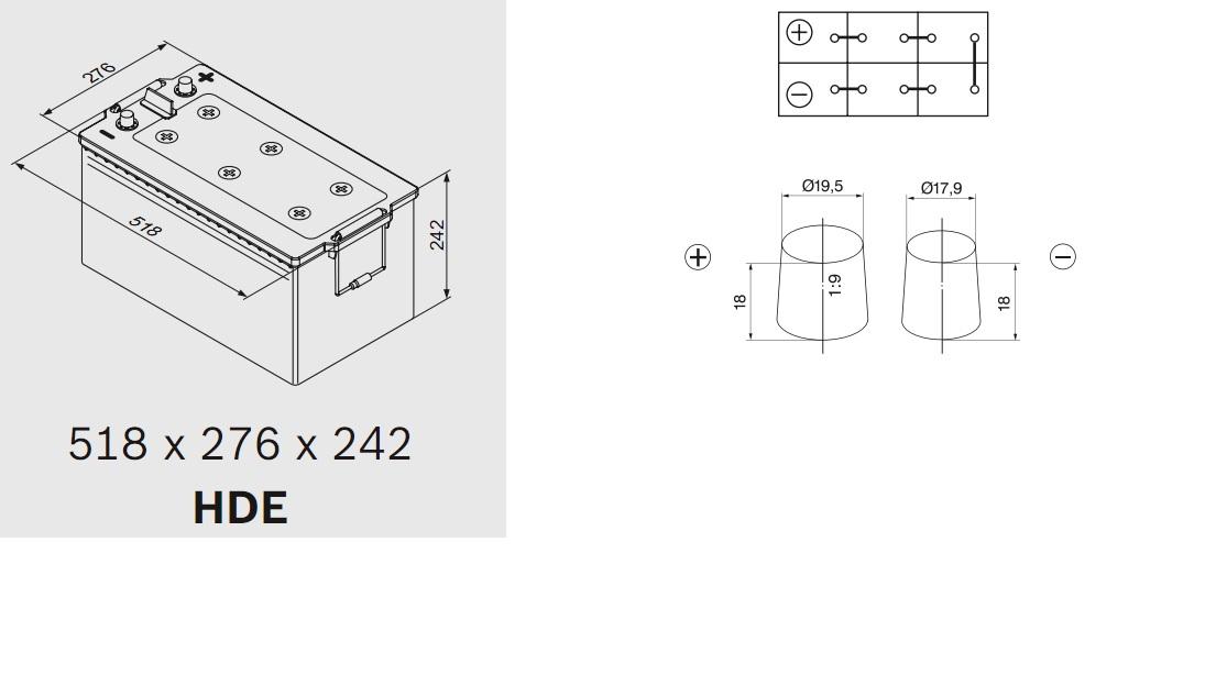 Аккумулятор BOSCH T5 (T5 080), 225 Ач, 1150 А, 518x276x242 мм.. (0092T50800)