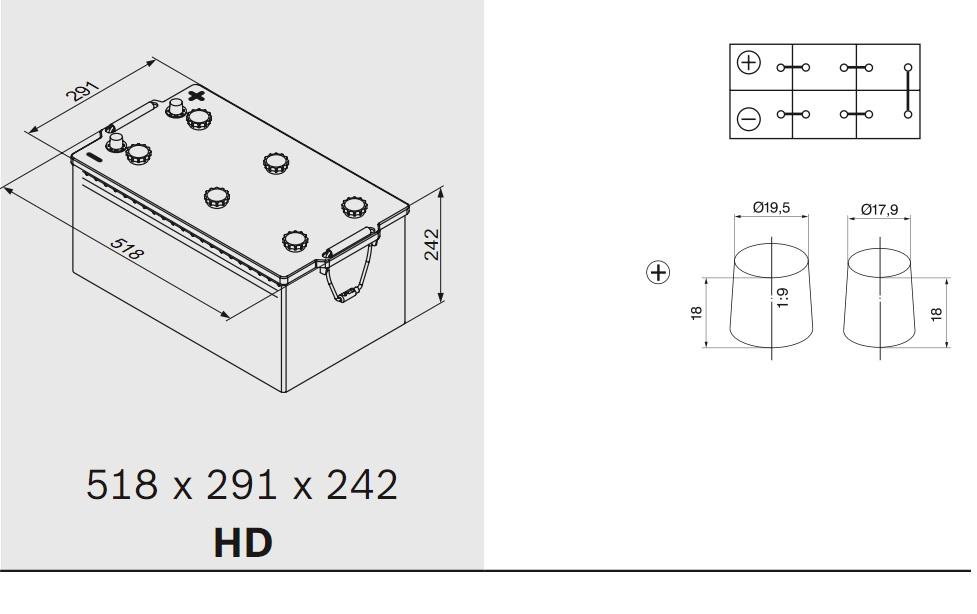 Аккумулятор BOSCH T3 (T3 081), 220 Ач, 1450 А, 518x291x242 мм.обр. (0092T30810)