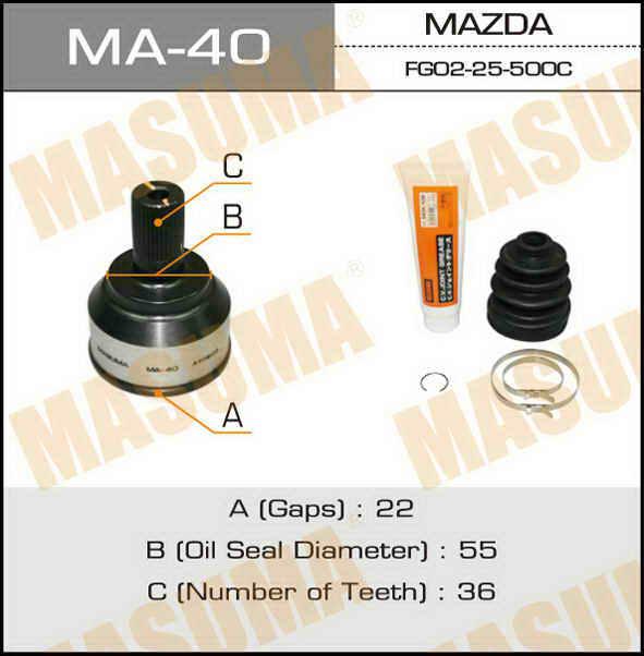 ШРУС  Masuma  22x55x36 (1/6). (MA-40)