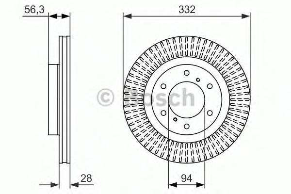 ТОРМОЗНОЙ ДИСК ПЕРЕДНИЙ. Bosch (0986479782)