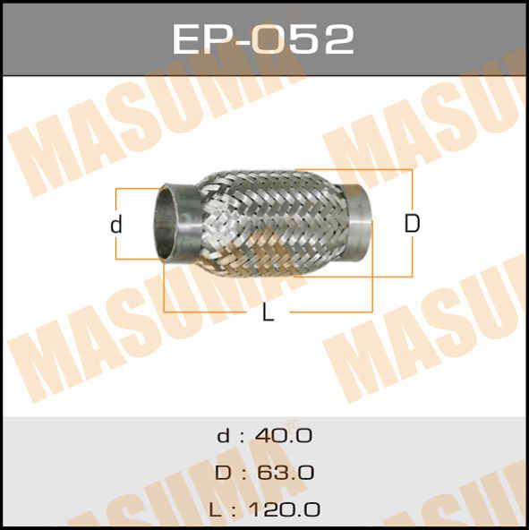 Гофра глушителя  MASUMA  40x120. (EP-052)