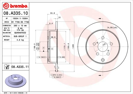 Диск тормозной 08.A335.10. Brembo (08A33510)