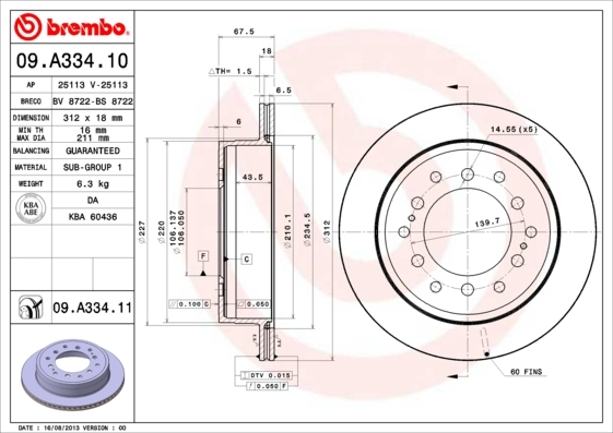 Диск тормозной Brembo Painted Disc 09.A334.11. (09A33411)