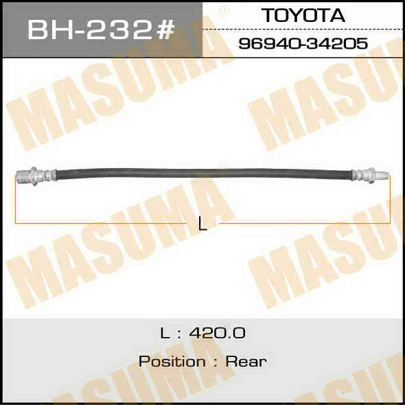 Шланг тормозной  Masuma  T- /rear/ HiLux Surf #N8# Central. (bh-232)